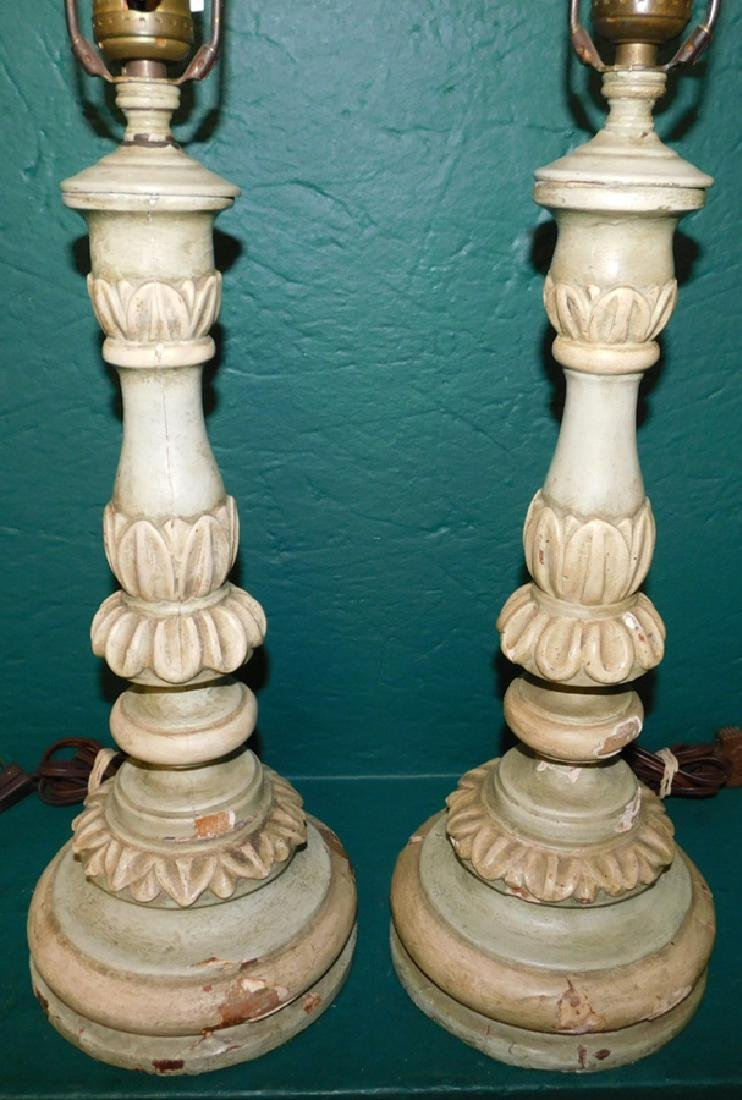 2 painted carved base wooden lamps - 2