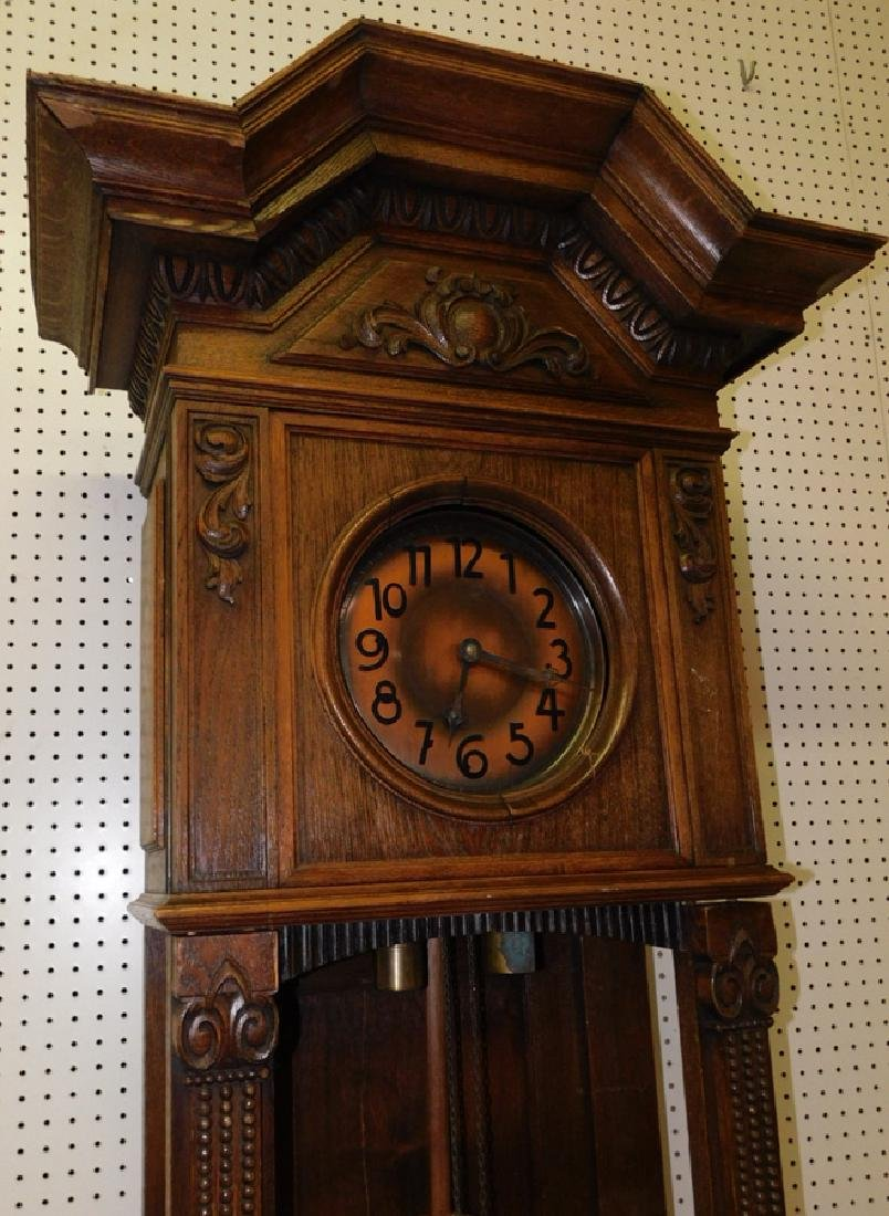 German oak Grandfather clock - 3