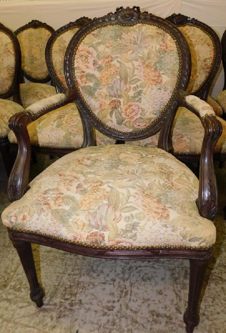 12 French carved dining chairs - 2