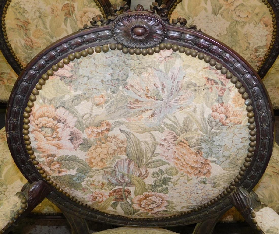 12 French carved dining chairs - 3