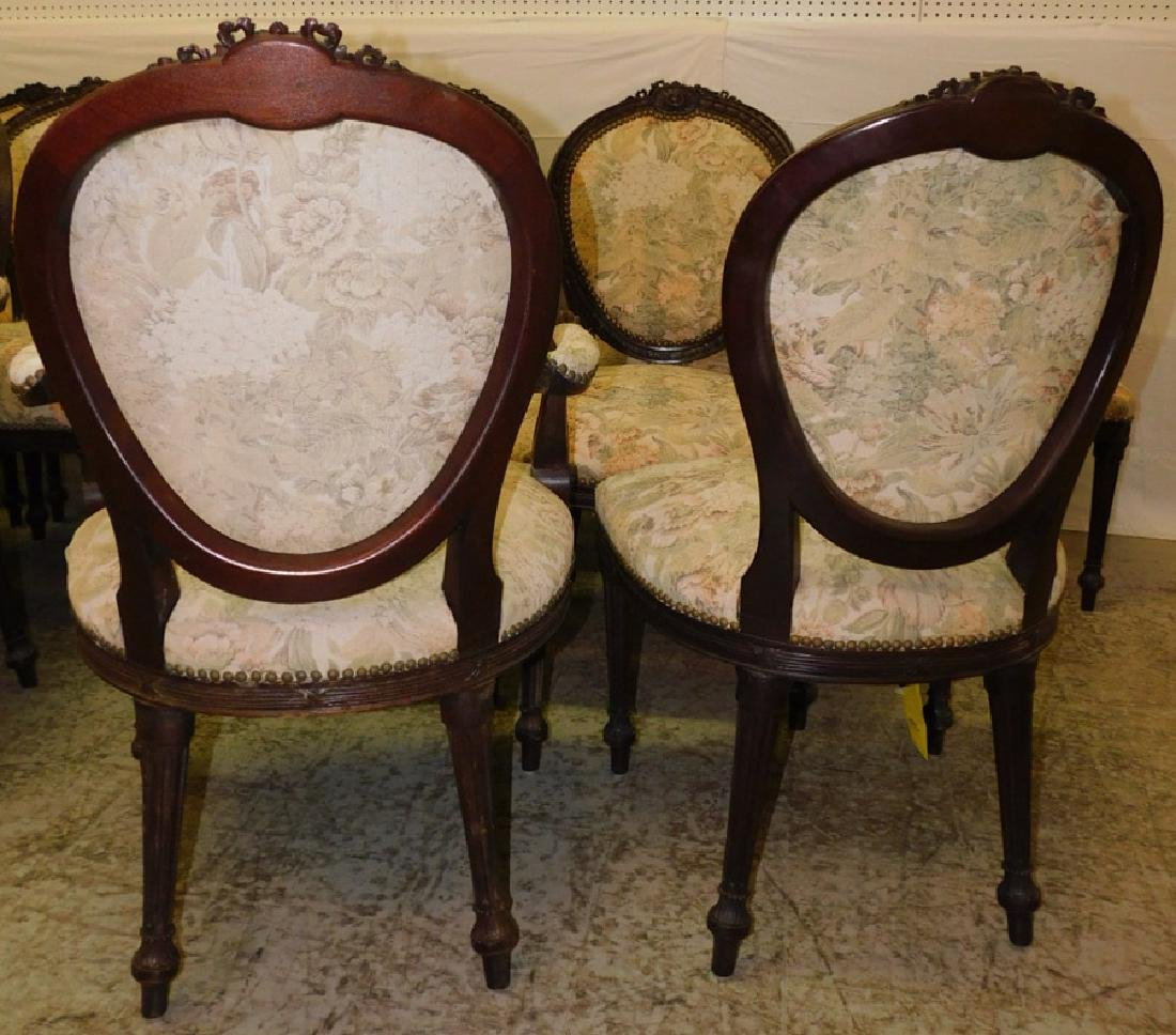 12 French carved dining chairs - 7