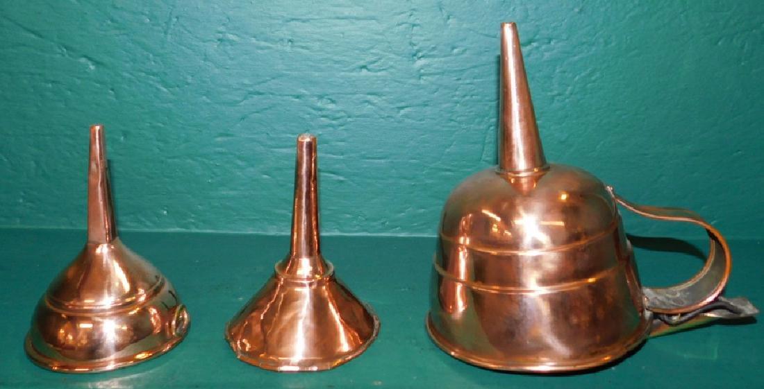 3 Antique copper funnels
