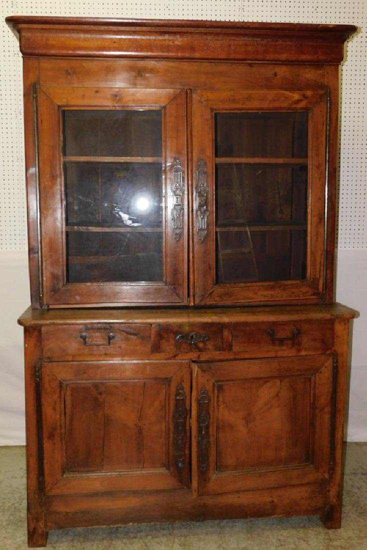18th C cherry French glass front cupboard
