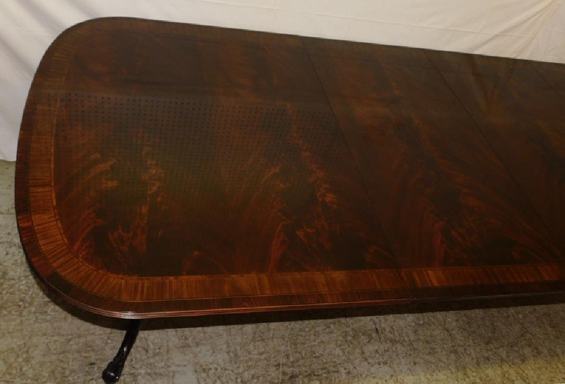 Inlaid mah 2 ped table w 3 leaves by Drexel - 3