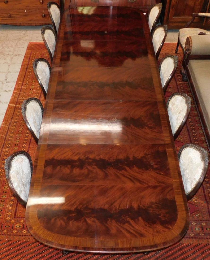 Inlaid mah 2 ped table w 3 leaves by Drexel - 9