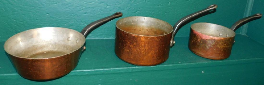3 heavy copper pots - 2