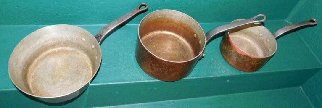 3 heavy copper pots - 3