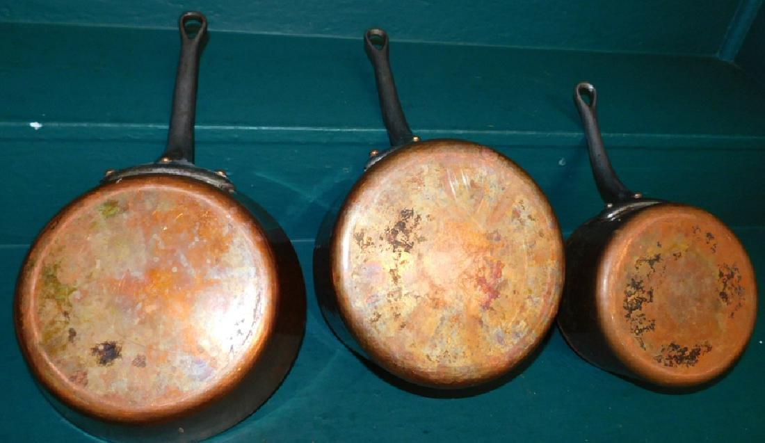 3 heavy copper pots - 4