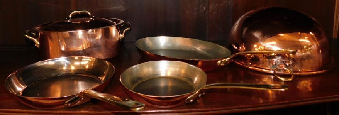 3 French copper skillets, covered pot, & boiler