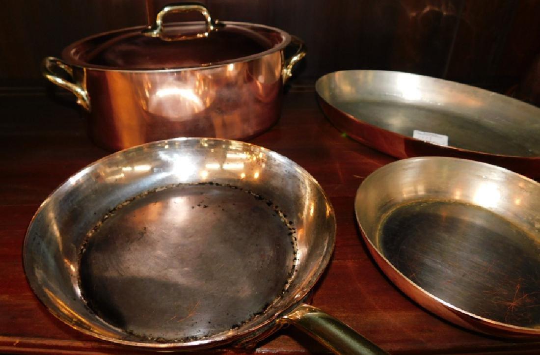 3 French copper skillets, covered pot, & boiler - 2