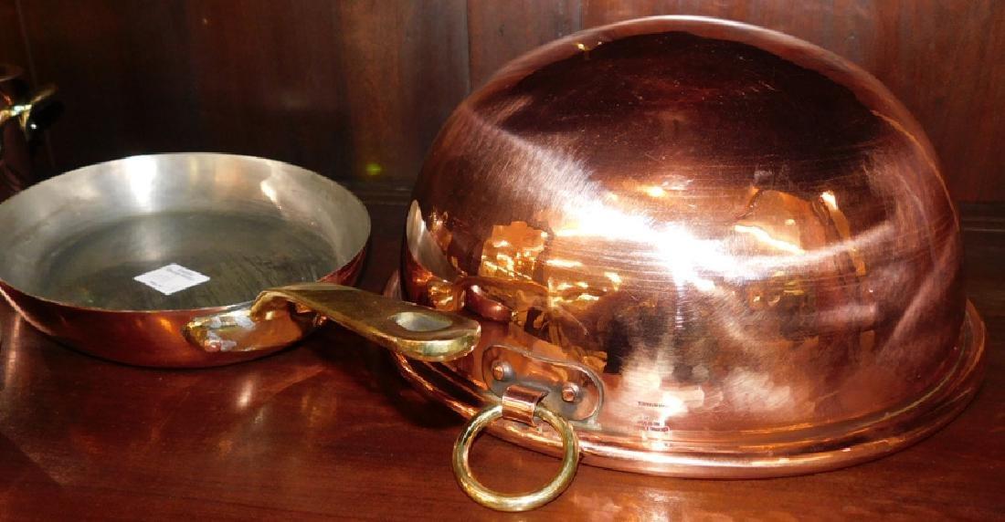 3 French copper skillets, covered pot, & boiler - 3