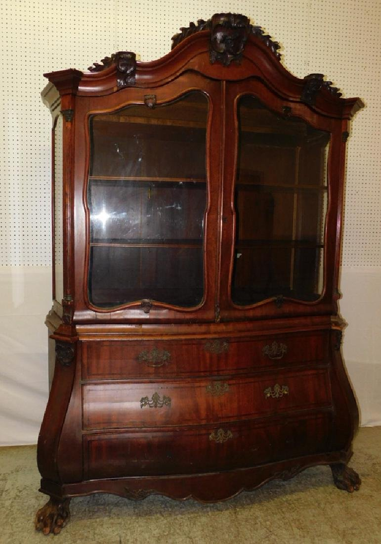 19th C Italian bombay gl front carved cupboard