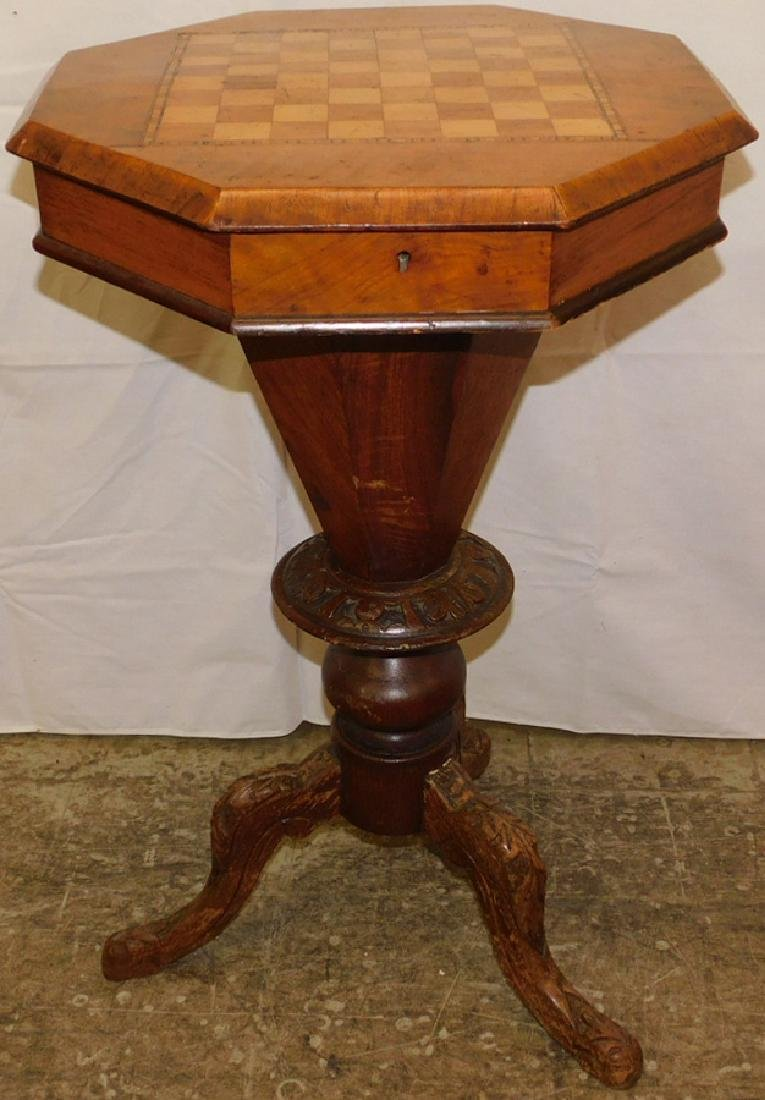 Inlaid sewing table with checkerboard top