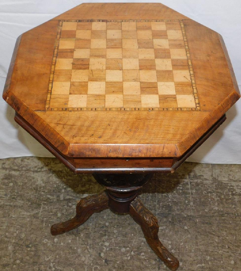 Inlaid sewing table with checkerboard top - 2