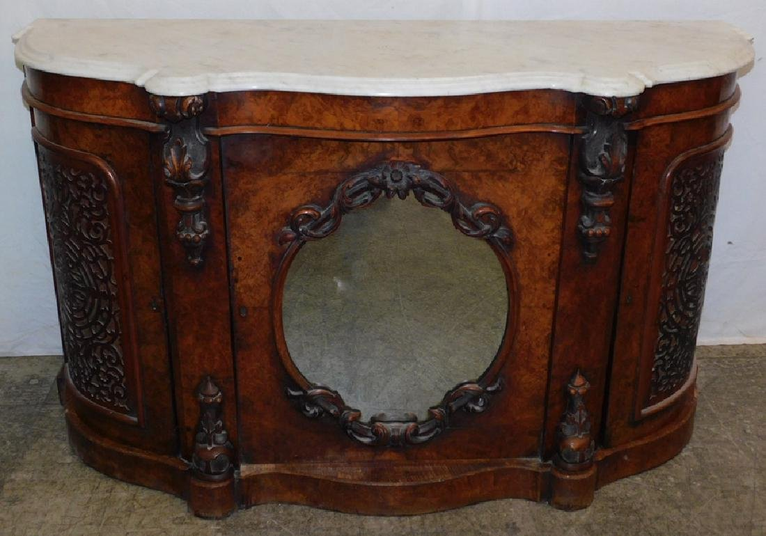 Marble top burled walnut server