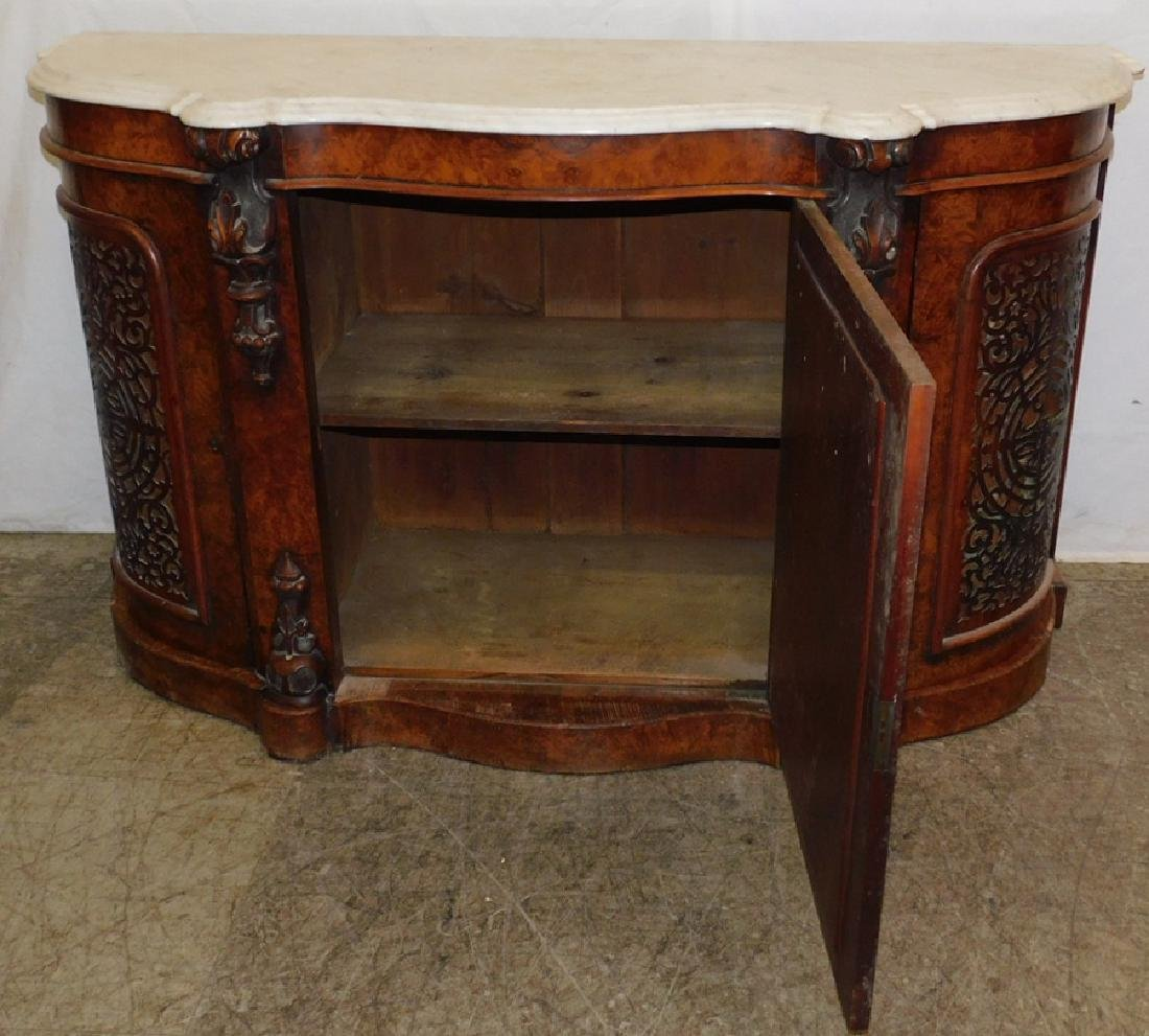 Marble top burled walnut server - 6