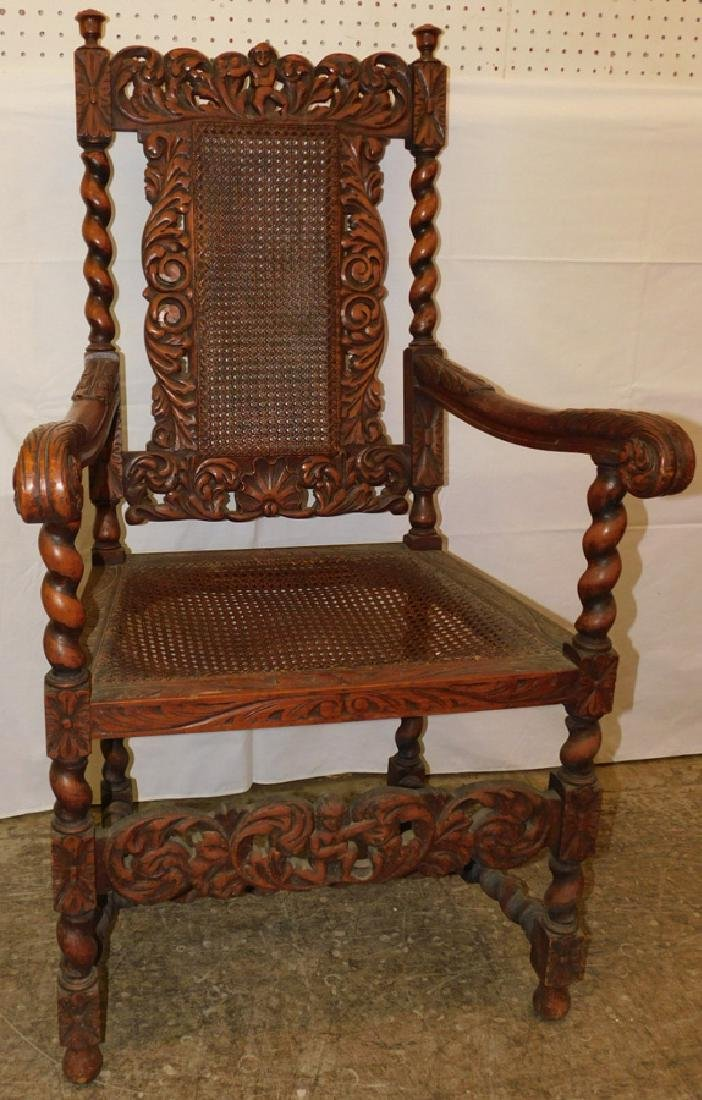 Carved English oak arm chair
