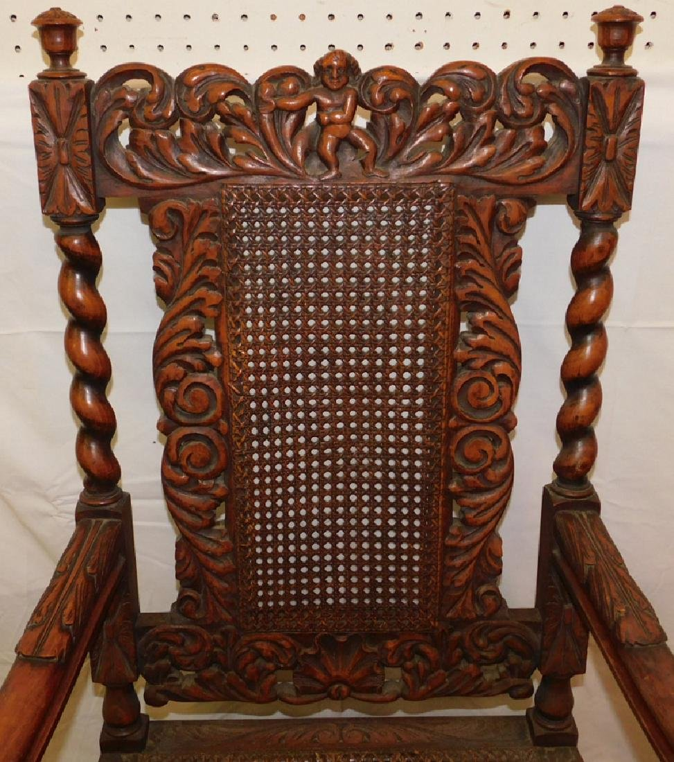 Carved English oak arm chair - 2
