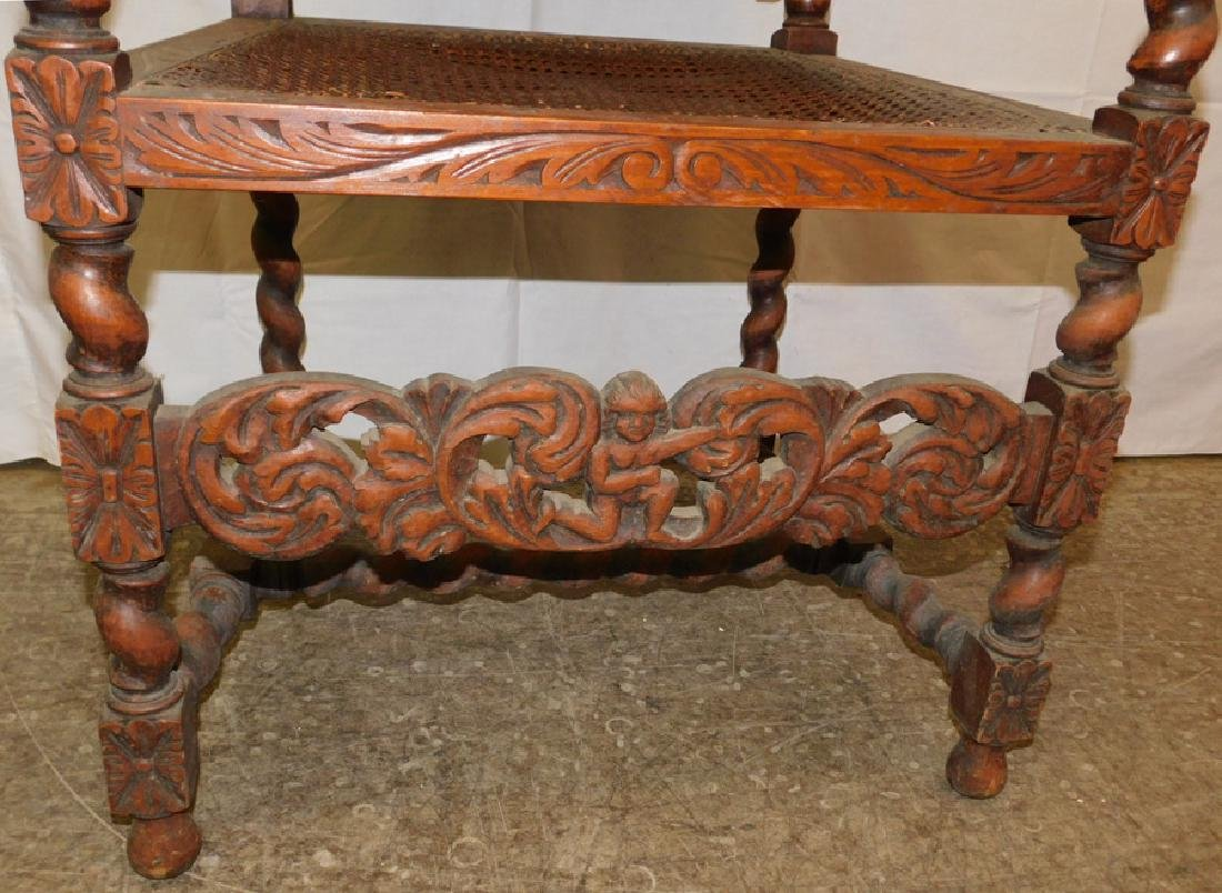 Carved English oak arm chair - 3