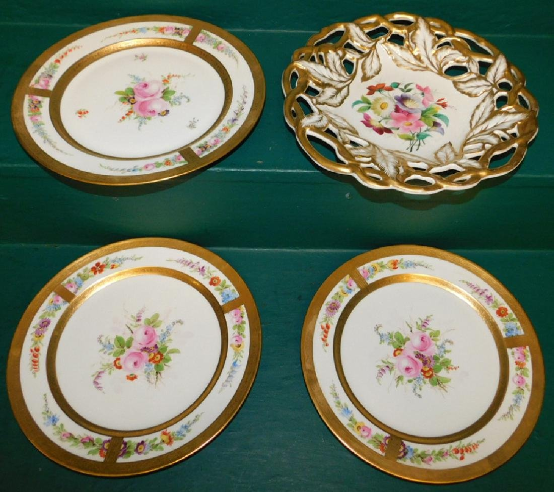 4 Hand Painted gold decorated plates
