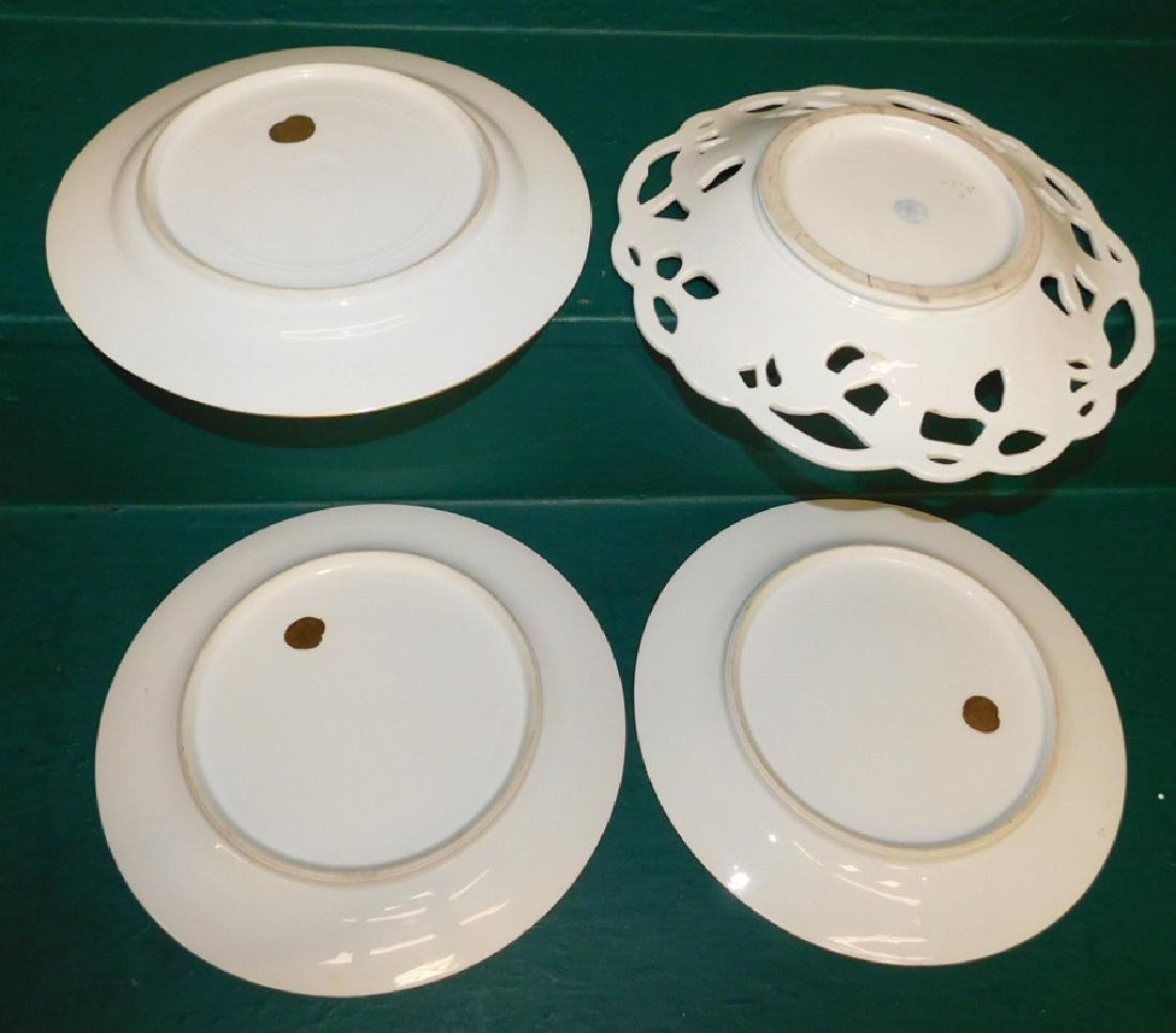 4 Hand Painted gold decorated plates - 2
