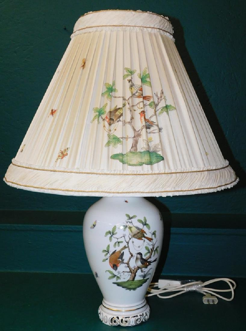Herend lamp and shade- Rothschild bird pattern