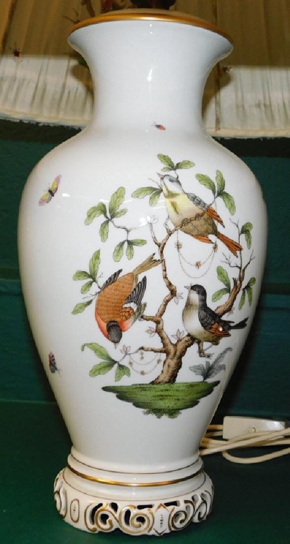 Herend lamp and shade- Rothschild bird pattern - 2