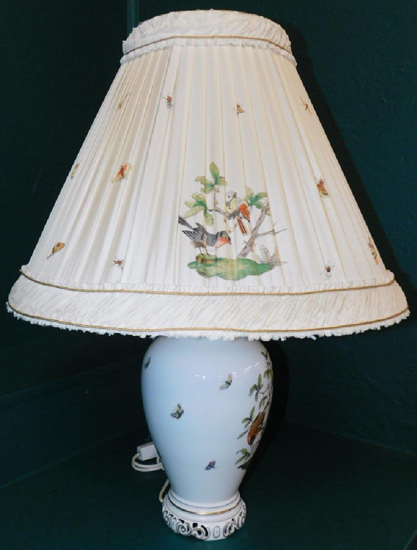 Herend lamp and shade- Rothschild bird pattern - 3