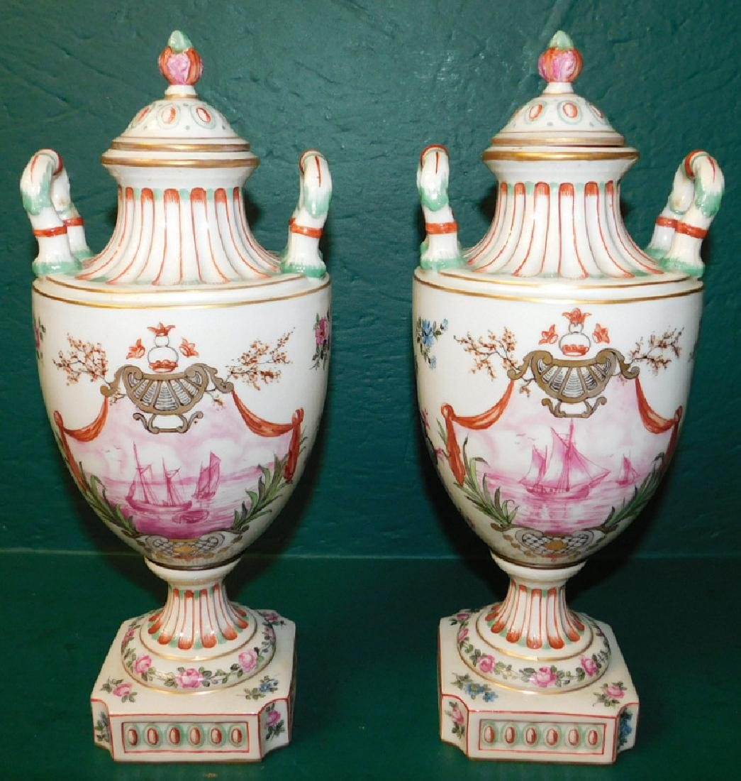 Pair of 19th C French hand painted vases
