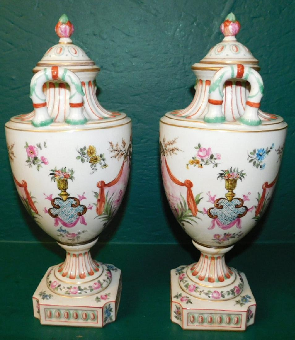 Pair of 19th C French hand painted vases - 2