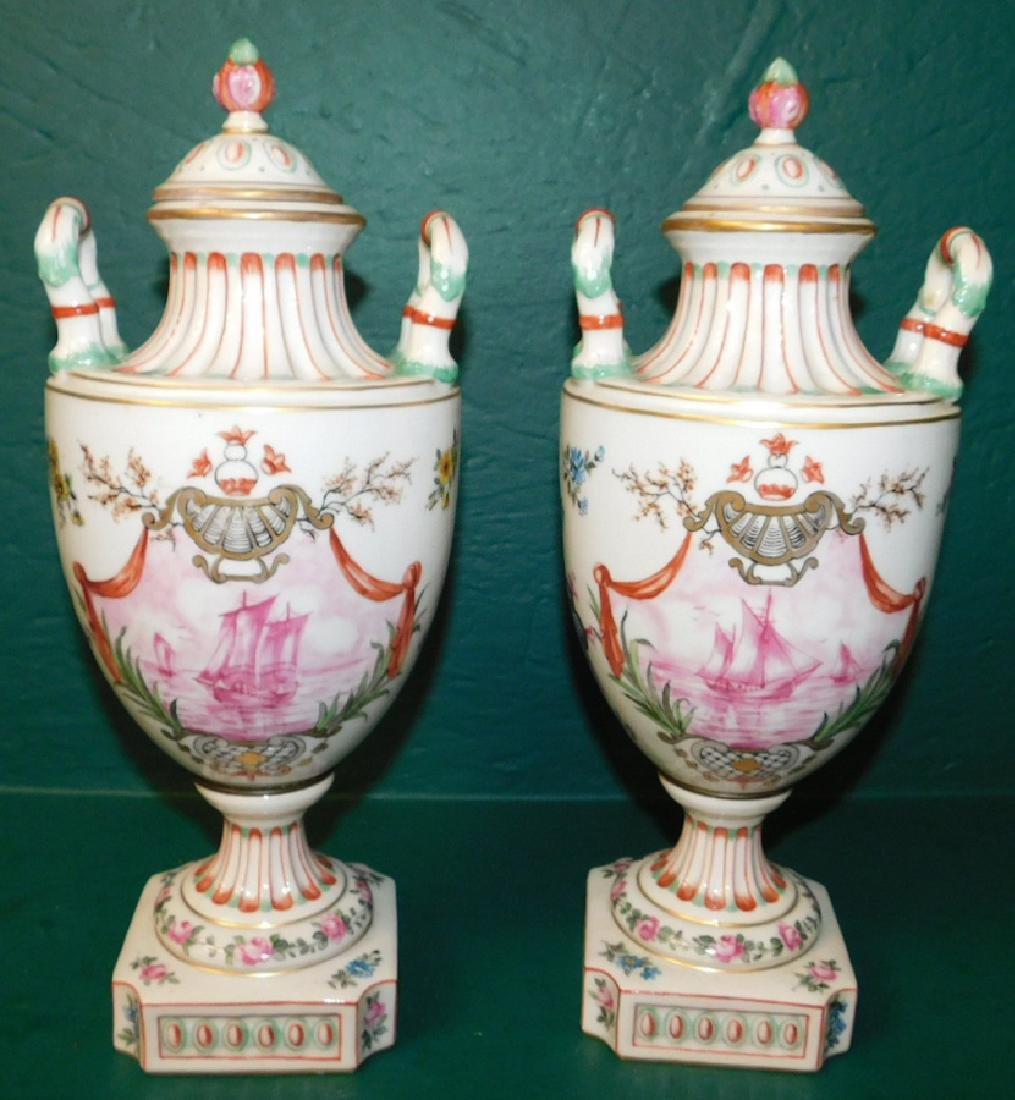 Pair of 19th C French hand painted vases - 3