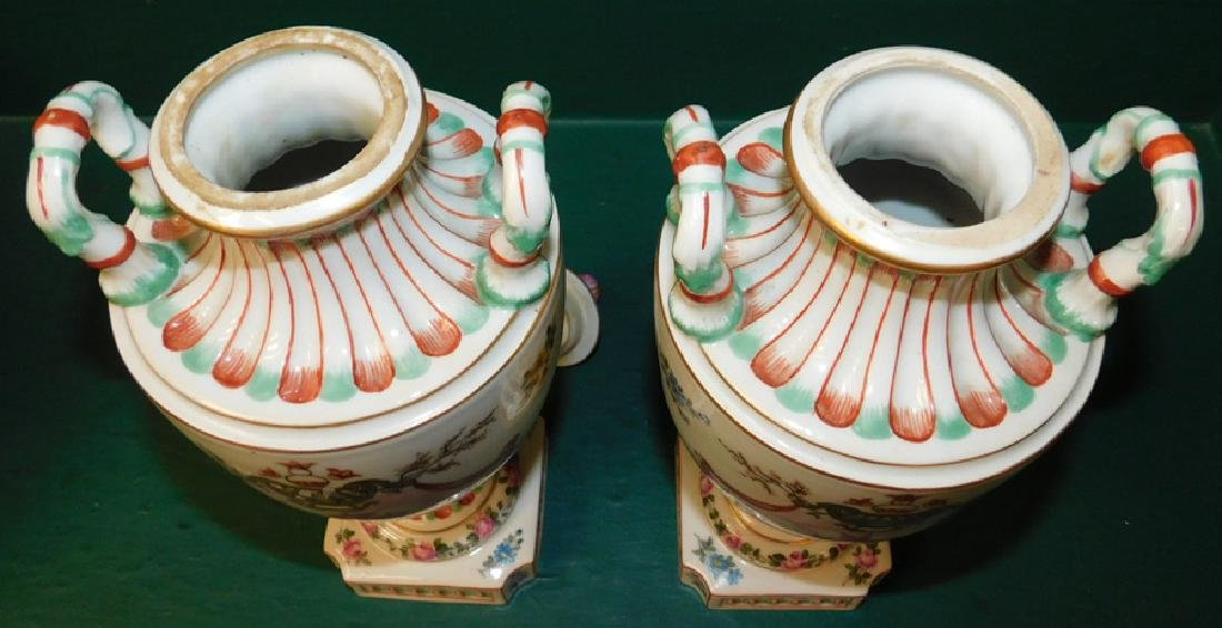 Pair of 19th C French hand painted vases - 5