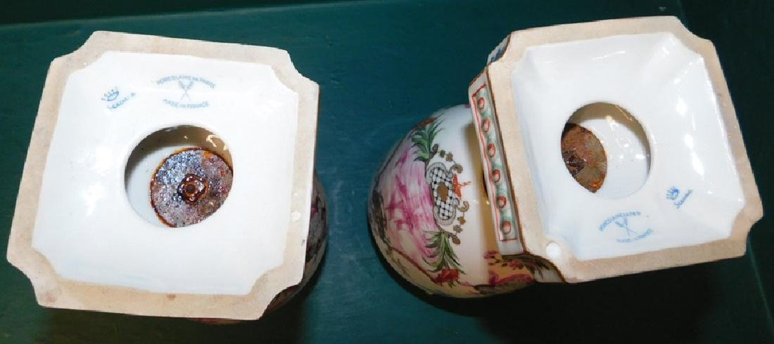 Pair of 19th C French hand painted vases - 6