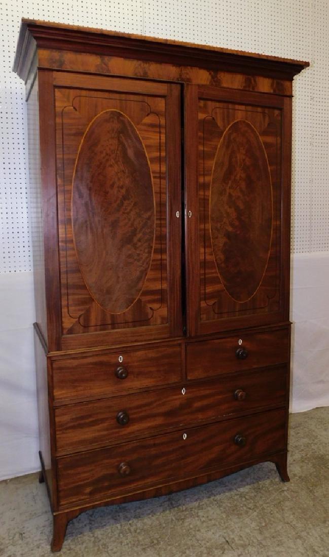 19th C inlaid Hepplewhite mahog linen press