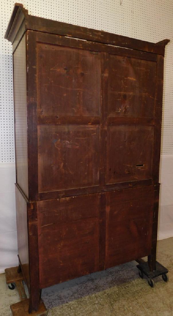 19th C inlaid Hepplewhite mahog linen press - 3