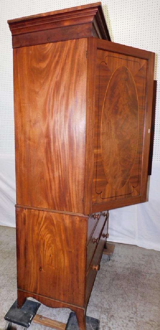 19th C inlaid Hepplewhite mahog linen press - 5