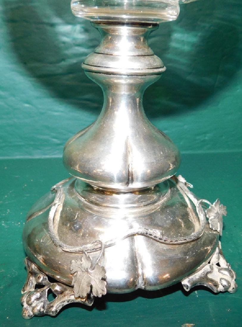 3 piece Dutch 833 silver & Flint glass garniture - 3