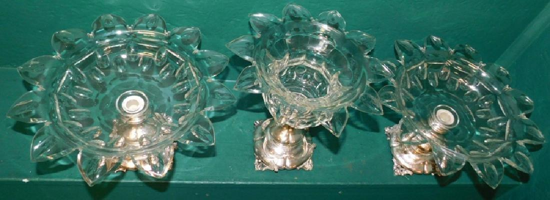3 piece Dutch 833 silver & Flint glass garniture - 5
