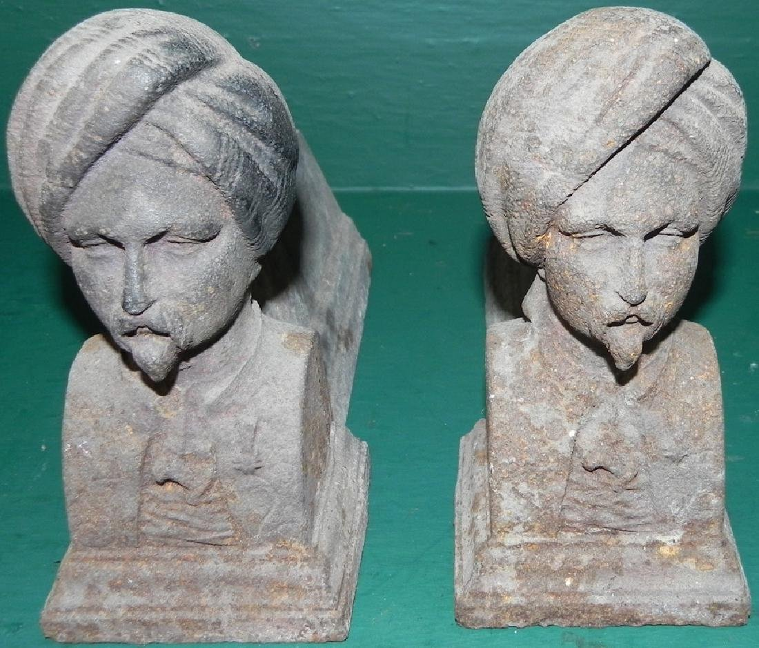 Pair of cast iron figural foot scrapers