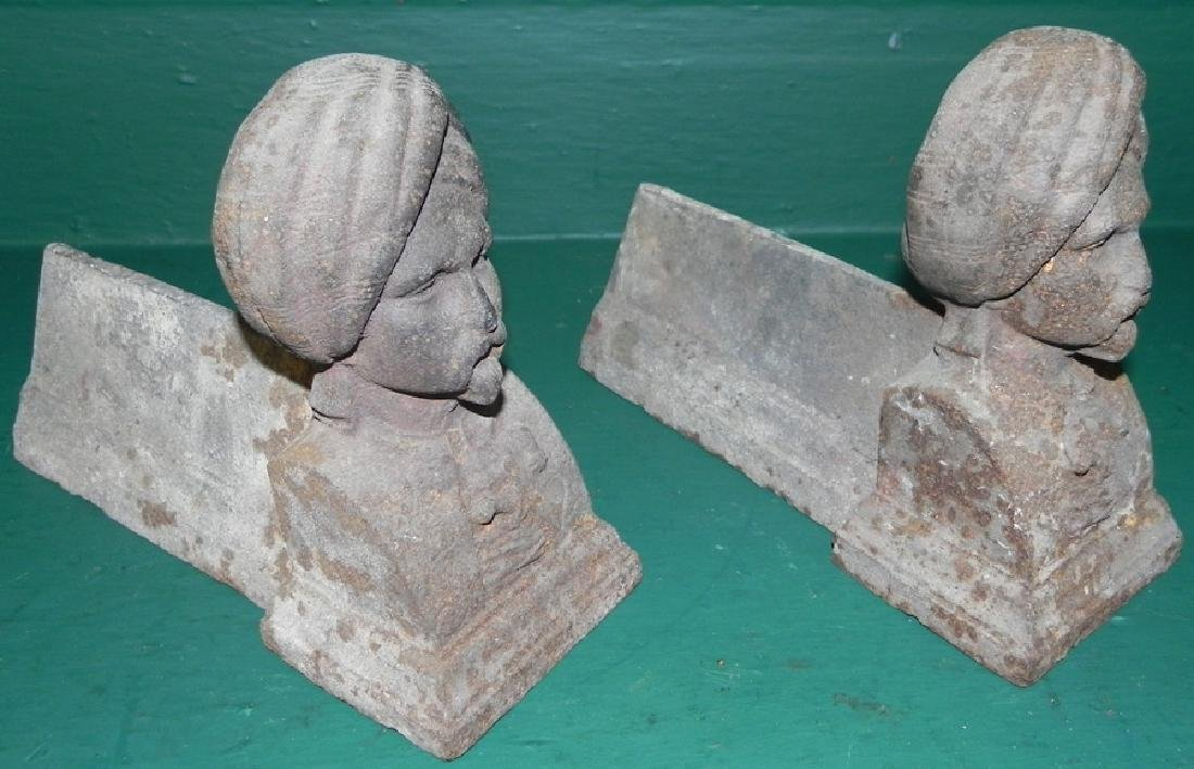 Pair of cast iron figural foot scrapers - 2
