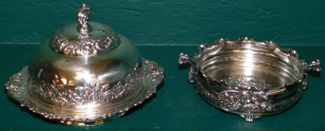 Silver plated butter dish and wine coster