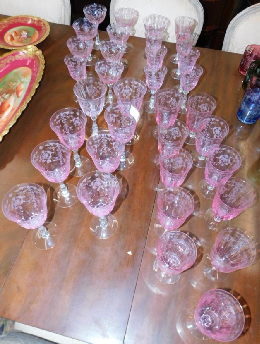 35 pieces of Fostoria etched glass stemware