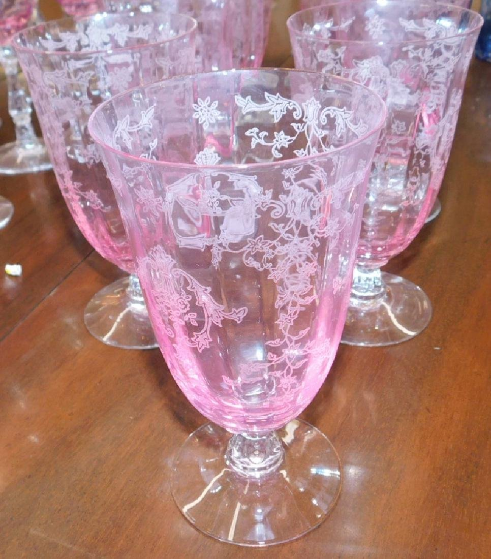 35 pieces of Fostoria etched glass stemware - 2