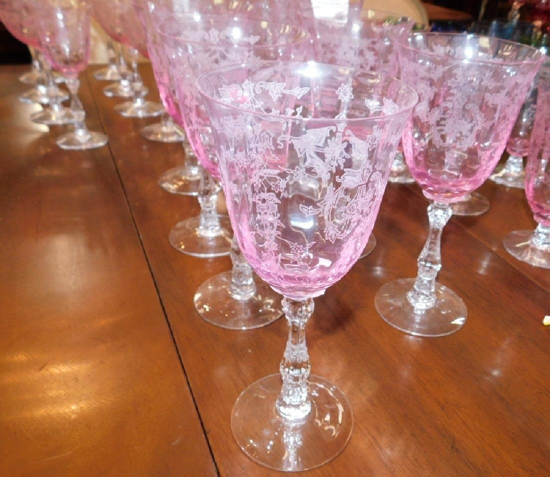 35 pieces of Fostoria etched glass stemware - 3