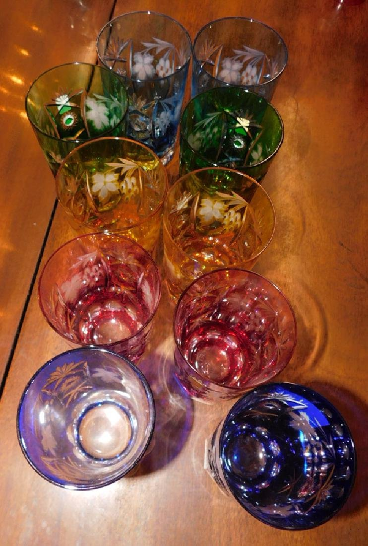 10 Bohemian cut to clear water glasses