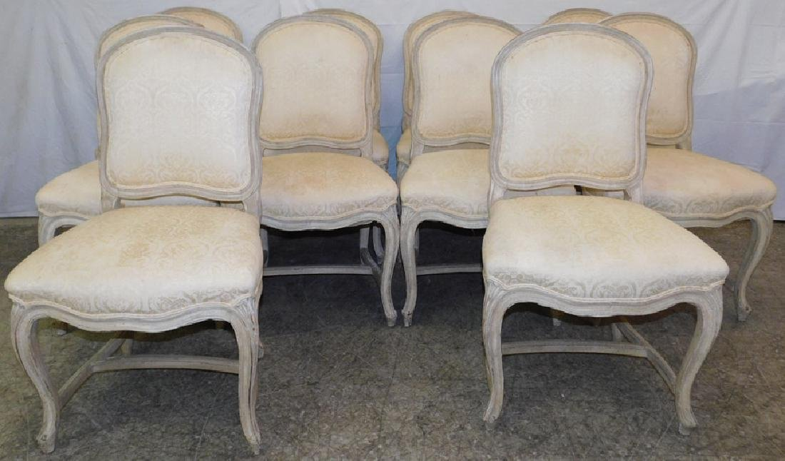 10 French paint decorated & upholstered chairs