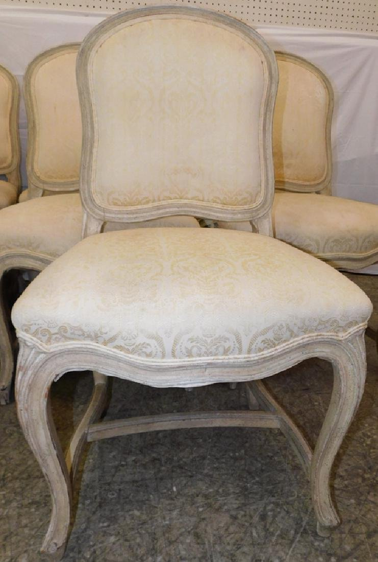 10 French paint decorated & upholstered chairs - 2