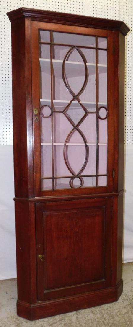 Mahogany glass front corner cupboard