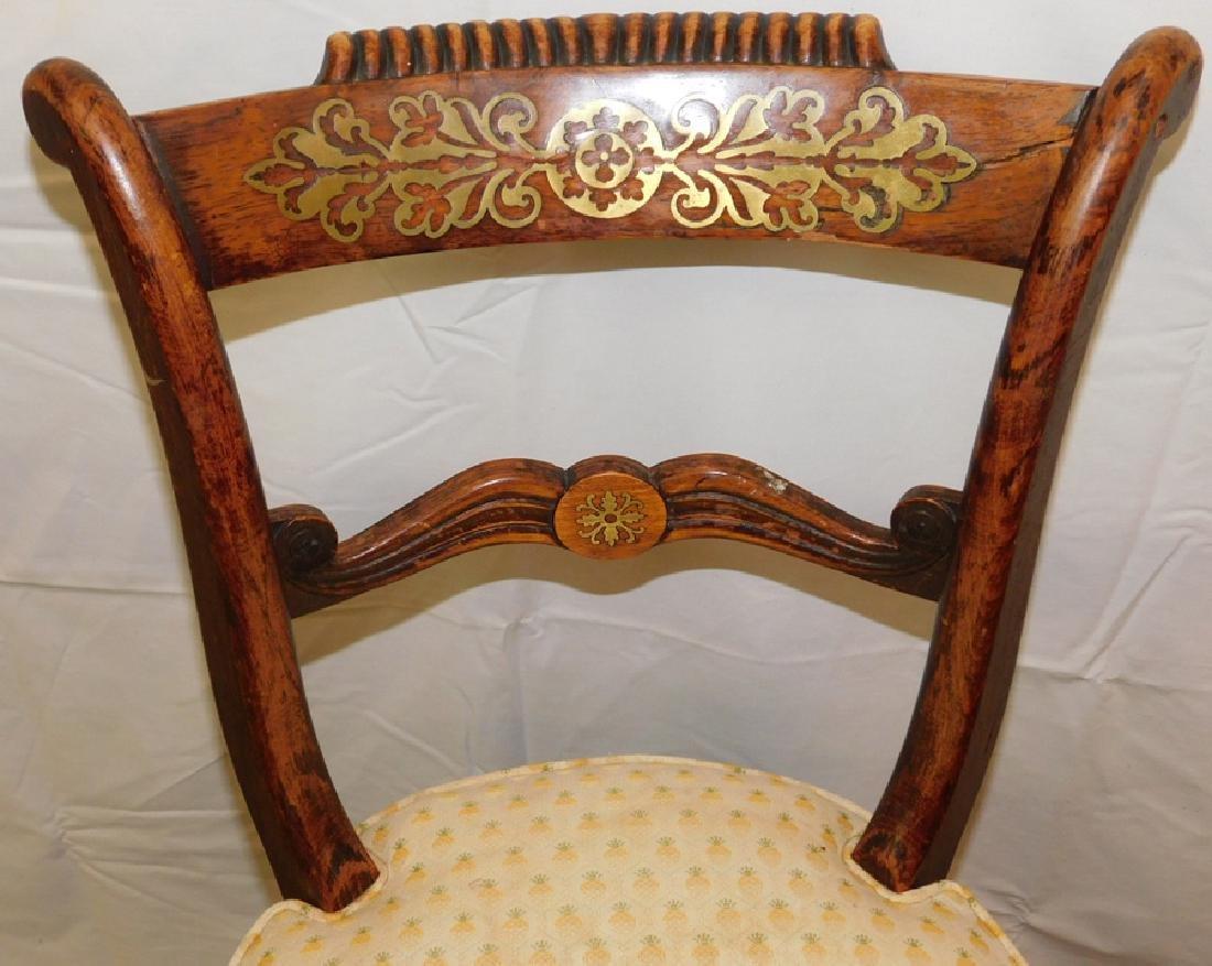Brass inlaid French organ chair - 2