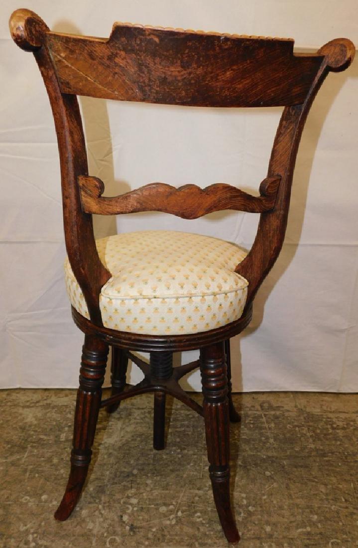 Brass inlaid French organ chair - 3